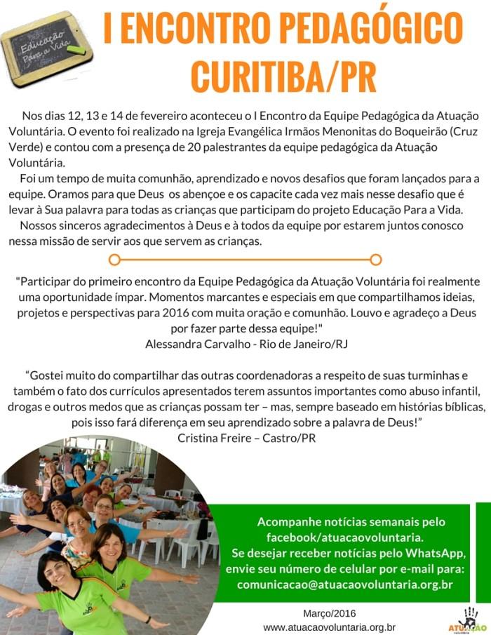 NEWS BRASIL - FEV-16 - ENCONTRO PEDAGOGICO